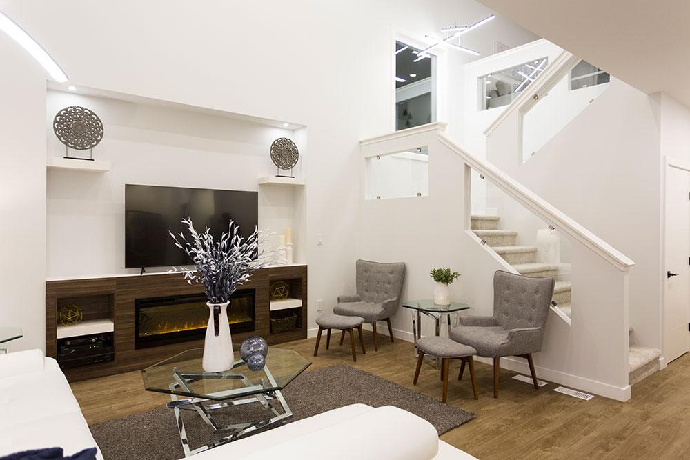 Fairview Great Room and Staircase - 31 Highpark Drive, Prairie Pointe, Winnipeg   Show Home